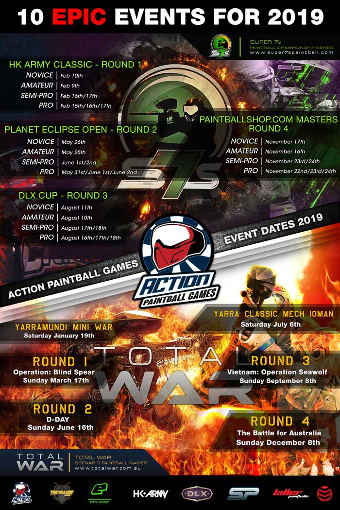 2019 Paintball Events Poster | Action Paintball Games